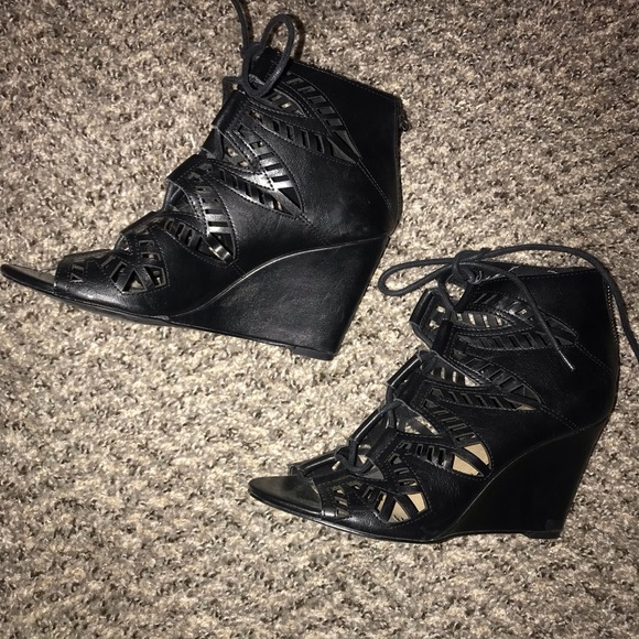 a.n.a Shoes - Black lace wedges